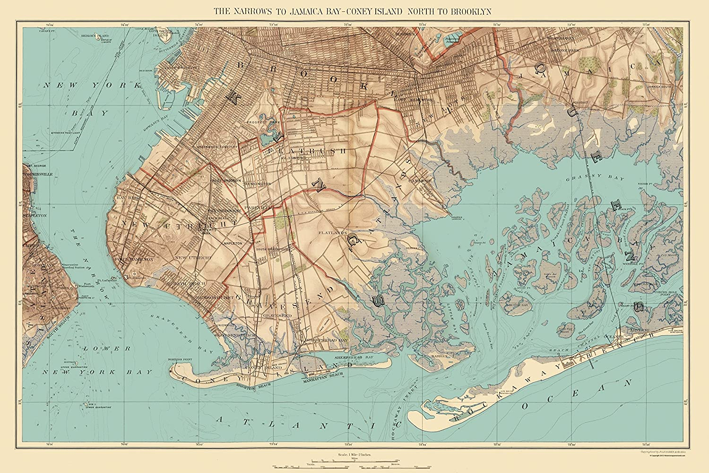 Map Of New York Jamaica.Amazon Com Old City Map Jamaica Bay Coney Island Brooklyn New