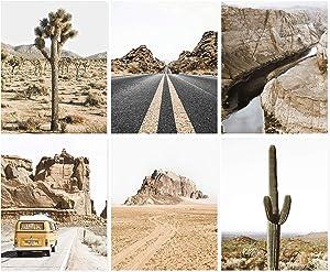 Arizona Wall Art, Set of 6 Prints, Desert Print, Desert Cactus Poster, Southwestern Wall Decor, Retro Van, Boho Grand Canyon, Wall Decor, Unframed (8