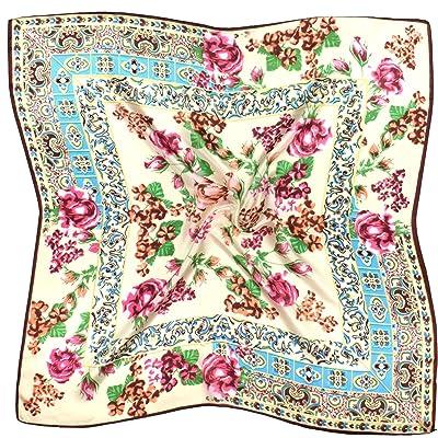 Écharpe Multicolore En Soie Carrée Fini En Fleurs
