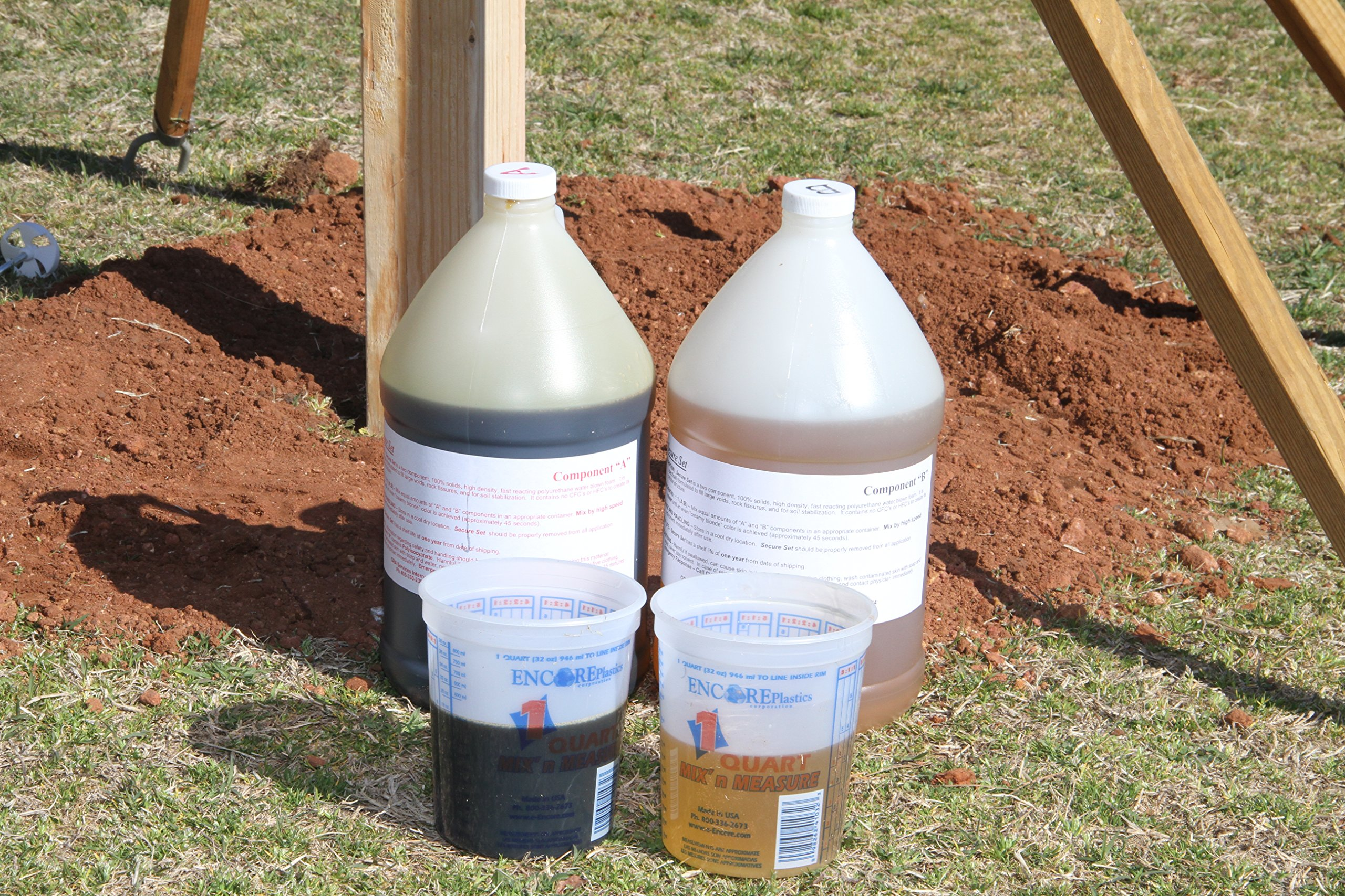 Secure Set - 10 Post Kit - Commercial Grade -2 Gallons.  Fast, Secure & Safe Concrete Alternative for Easy Fence Post Installation.