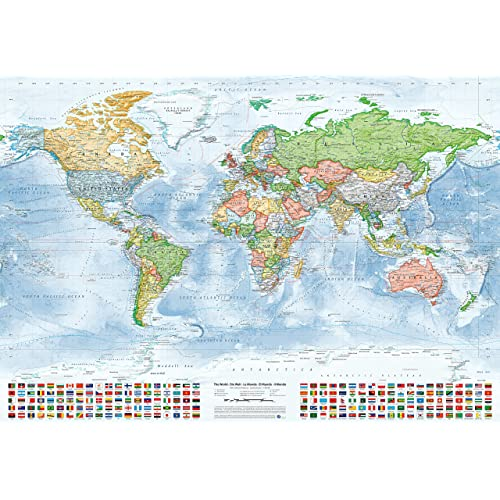 World maps amazon juer karten political world map with flags size 100x70 cm english gumiabroncs Image collections