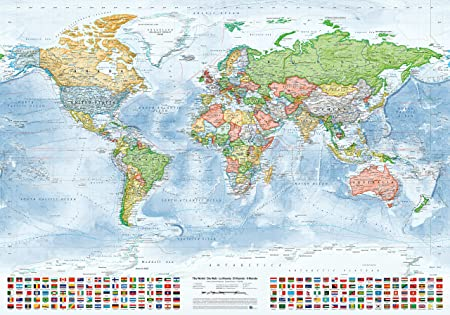 Juer karten political world map with flags size 100x70 cm juer karten political world map with flags size 100x70 cm english gumiabroncs Image collections