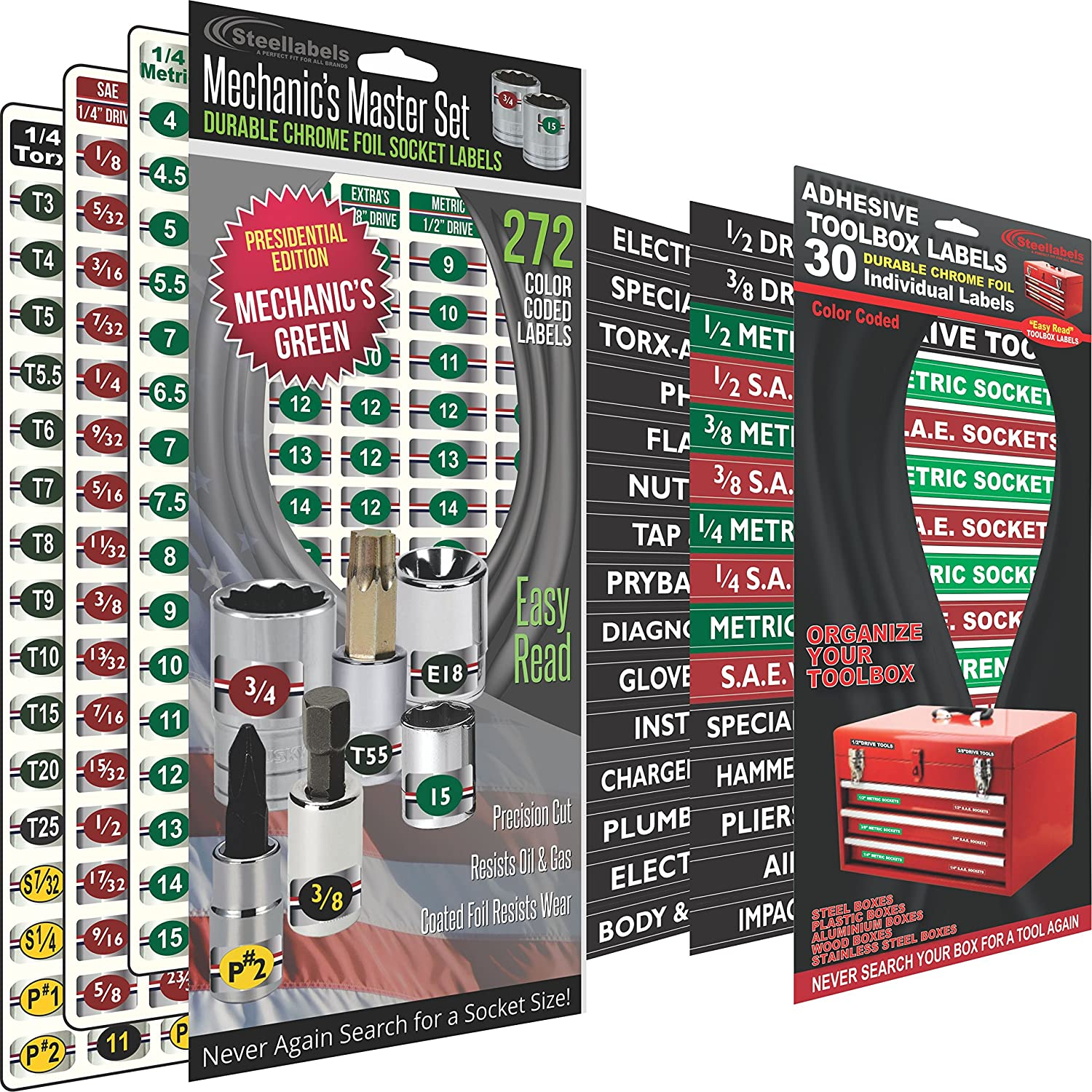 """Combo Deal - Adhesive Toolbox Labels plus our best""""Master"""" Set of Socket Labels (Green Edition) for Metric, Torx & SAE tools, fits all Craftsman, Snap On, Mac Tools and Tool Chest"""