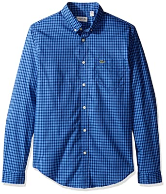 8f8a916a1db82e Lacoste Men s Long Sleeve Gingham Check Poplin Reg Fit Woven Shirt ...