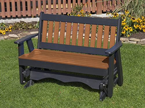 Ecommersify Inc 5FT-Cedar-Poly Lumber Mission Porch Glider Heavy Duty Everlasting PolyTuf HDPE – Made in USA – Amish Crafted