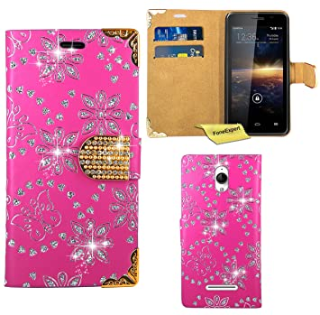 Vodafone Smart 4 Turbo Funda, FoneExpert® Diamante Bling Wallet Flip Billetera Carcasa Cover Case