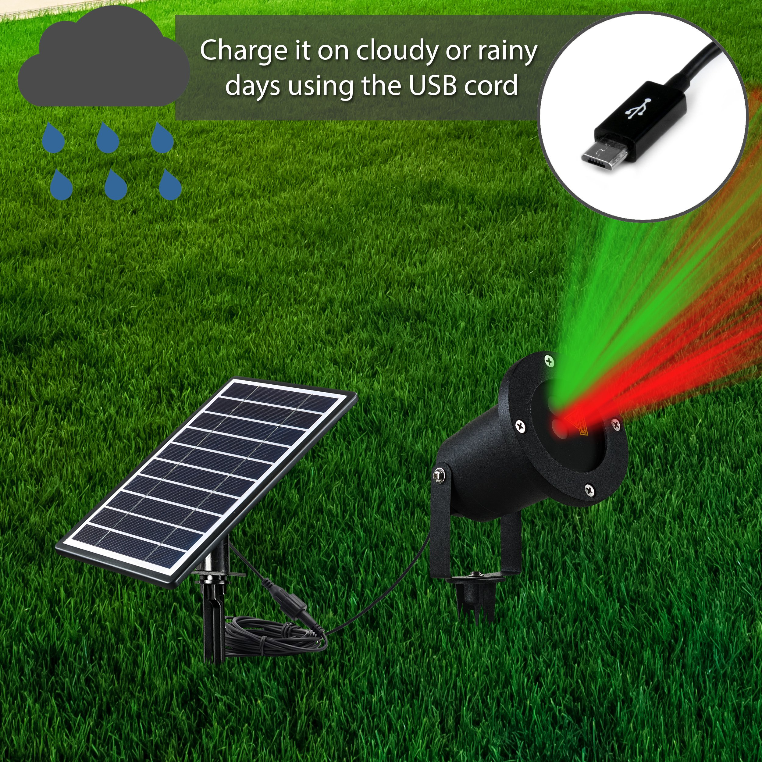 Solario Solar Powered Laser Light Projector w/All-Metal Aluminum Design | Extra-Bright LED Stake Lights | 100% Weather Resistant Outdoor Christmas Lights (Red & Green) (3 Patterns) by Solario (Image #3)