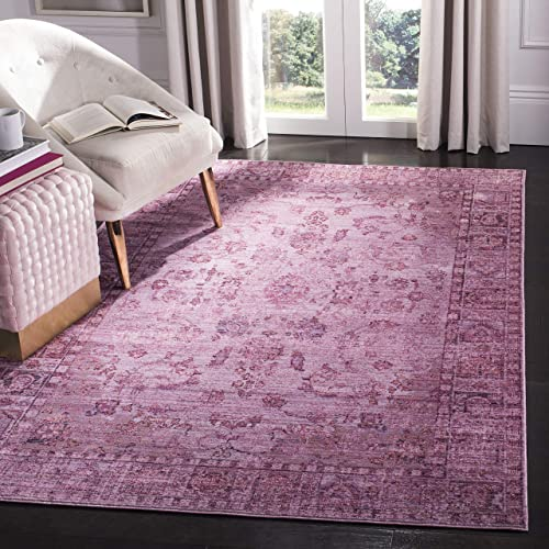 Safavieh Valencia Collection VAL105C Pink and Multi Vintage Overdyed Distressed Silky Polyester Area Rug 9' x 12'