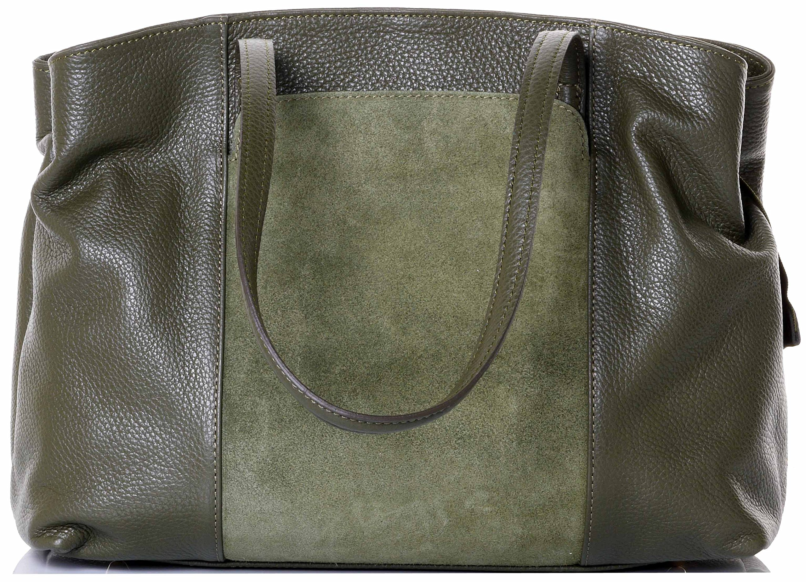 Primo Sacchi Italian Textured Leather Olive Green Hand Made Large Long Handle Shoulder Bag Handbag, with Suede Front Panel Pocket, Includes a Branded Protective Storage Bag