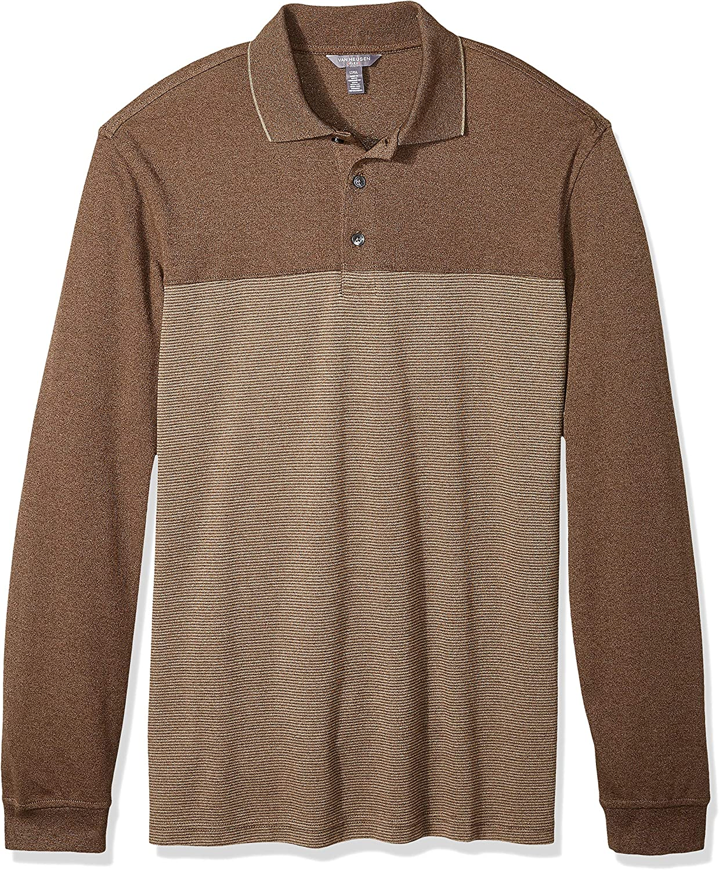 Van Heusen Mens Flex Long Sleeve Jaspe Solid Polo Shirt