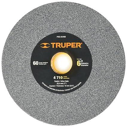 "8cc9039e4de5 Truper PIES-63460, Piedra para esmeril, óxido de aluminio 6"", grano"