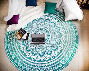 Tealtastic Mandala Round Tapestry Hippie Indian Mandala Beach Roundie Picnic Table Throw Hippy Bohemian Spread Boho Gypsy Cotton Tablecloth Beach Towel Meditation Round Yoga Mat - 72 Inches, Green