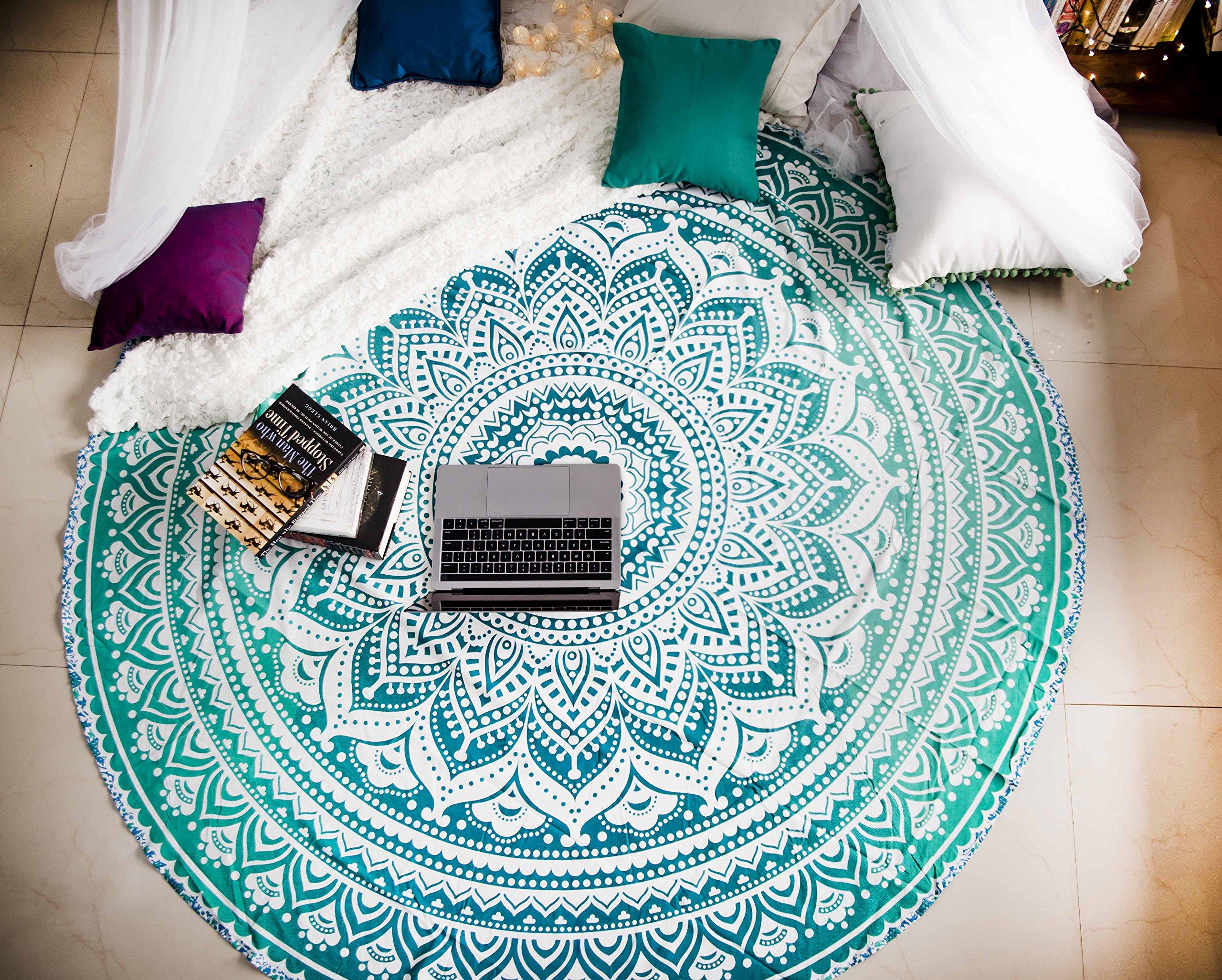 Tealtastic Mandala Round Tapestry Hippie Indian Mandala Beach Roundie Picnic Table Throw Hippy Bohemian Spread Boho Gypsy Cotton Tablecloth Beach Towel Meditation Round Yoga Mat - 72 Inches, Green