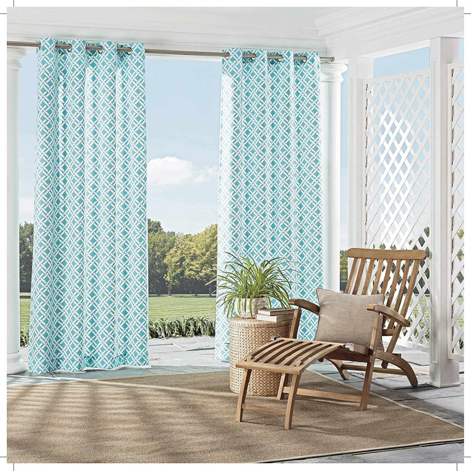 Indigo Ellery Homestyles Parasol 15932052095IND St Kitts 52-Inch by 95-Inch Indoor Outdoor Single Window Curtain Panel