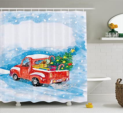 Ambesonne Christmas Shower Curtain Set Vintage Red Truck In Snowy Winter Scene Xmas Tree Gifts