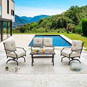 LOKATSE HOME 4 Pieces Outdoor Conversation Furniture Bistro Metal Seating Patio Armchairs Loveseat Set with Cushion & Coffee Table, 4 pcs Chair, Beige