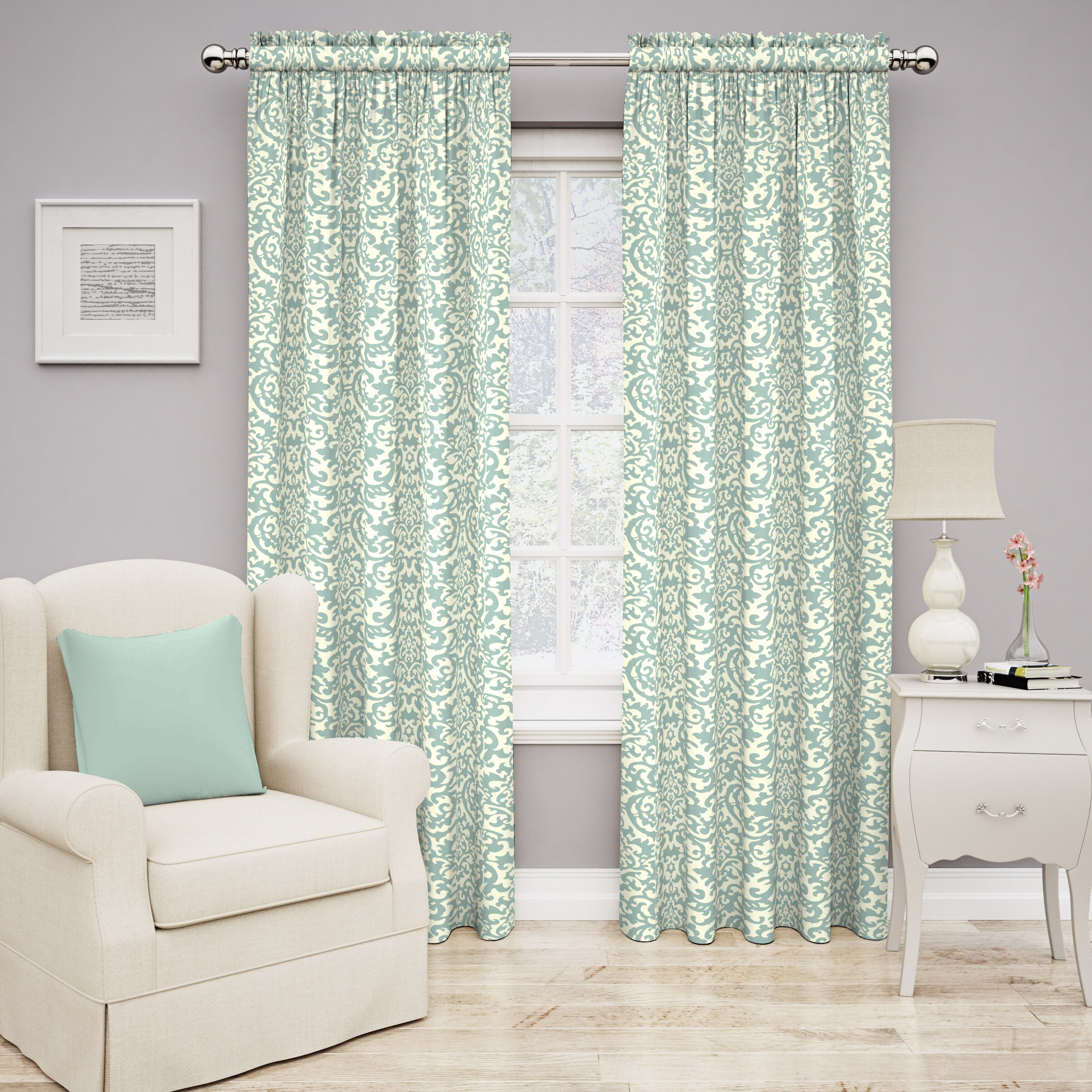 Traditions By Waverly 14973052084SPA Duncan Damask 52-Inch by 84-Inch Single Window Curtain Panel, Spa by Traditions By Waverly (Image #1)