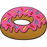 Pink Doughnut Embroidered Iron On / Sew On Patch Shirt Jeans Embroidery Donut Badge