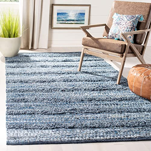 Safavieh Montauk Collection MTK417L Hand-Woven Cotton Area Rug, 8 X 10 , Blue