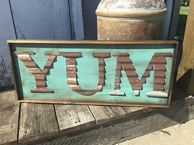 YUM Sign   Rustic Kitchen Decor   Farmhouse Sign   Metal Letter    Corrugated Metal