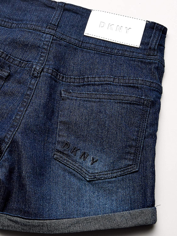 DKNY Girls Big Double Stack Waist with Cued Hem Stretch Denim Short
