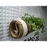 Rochfern Bamboo Hanging Planter/Hanging Pot with Cotton Rope