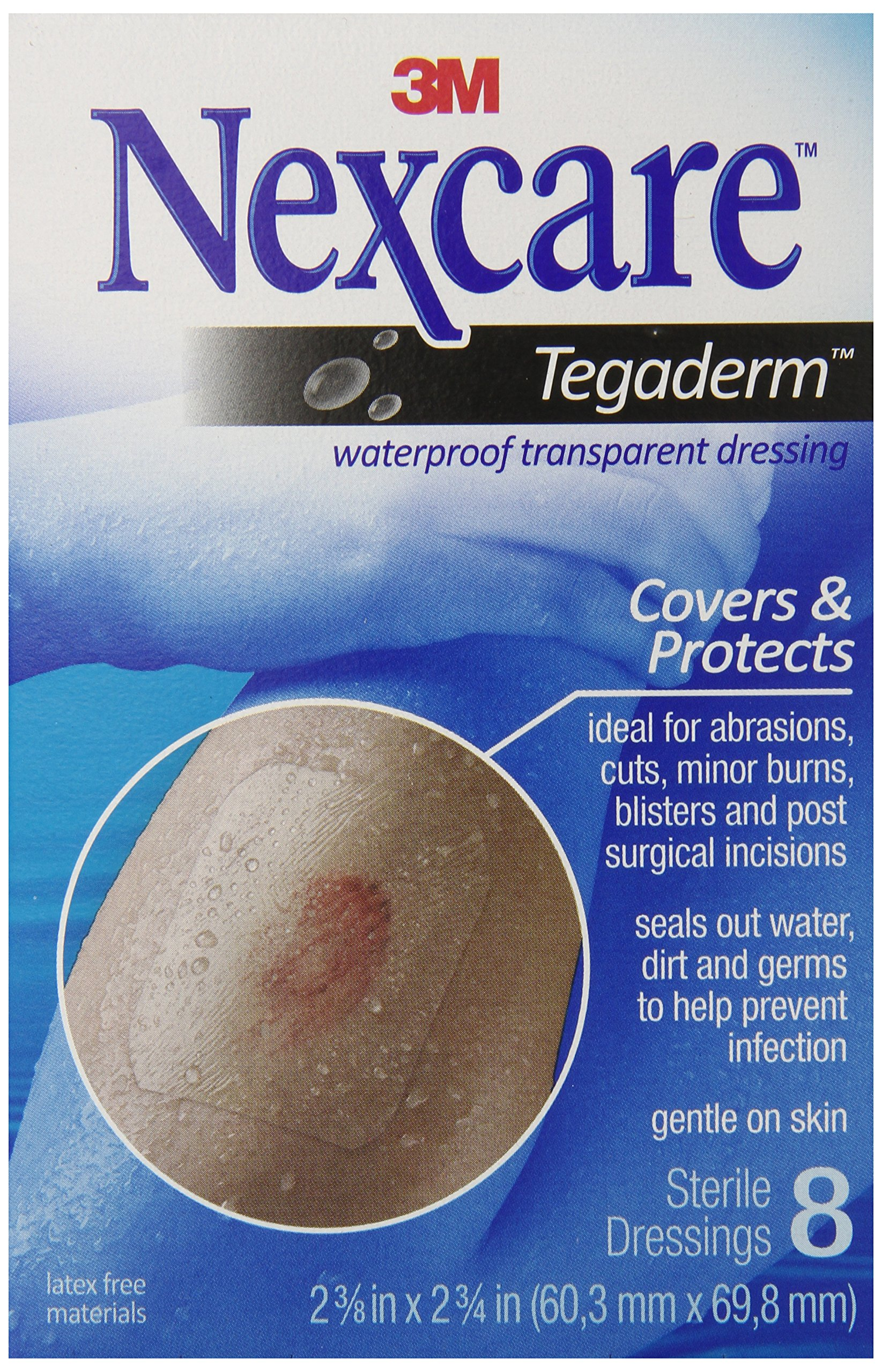 Nexcare Tegaderm Waterproof Transparent Dressing, Flexible and Breathable, Post-Surgical Incisions, 2-3/8-Inches X 2-3/4-Inches, 8 Count