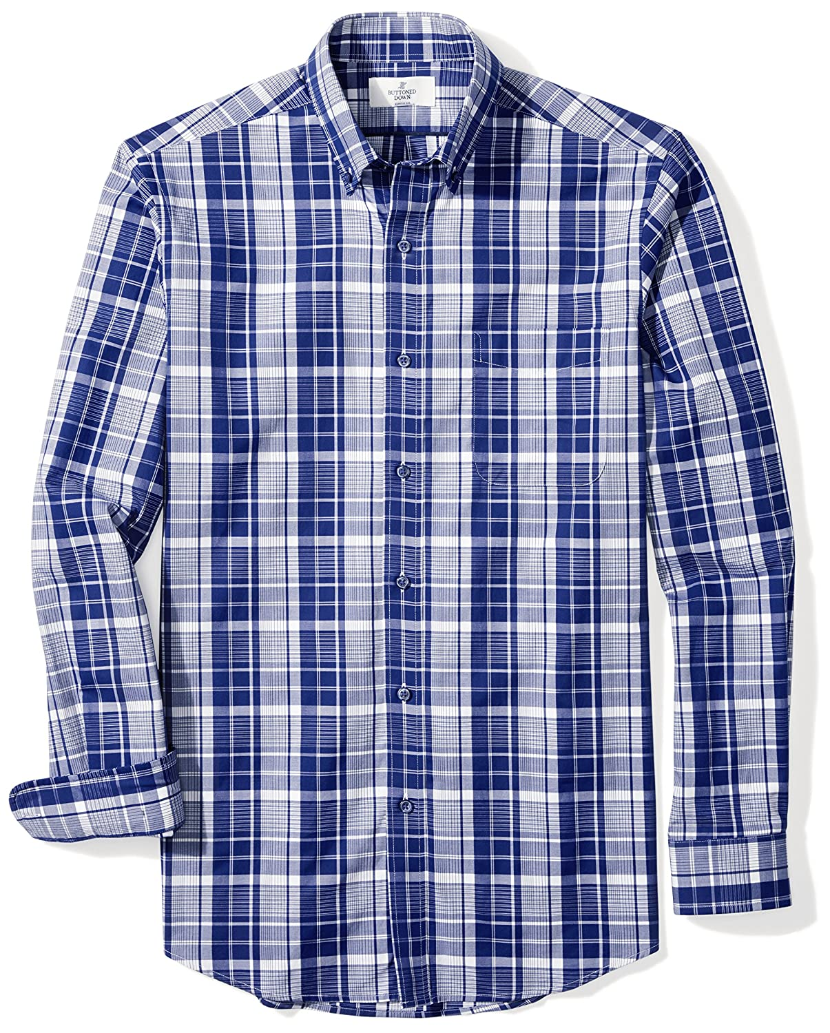 BUTTONED DOWN Men's Classic Fit Supima Cotton Dress Casual Shirt (Discontinued Patterns)