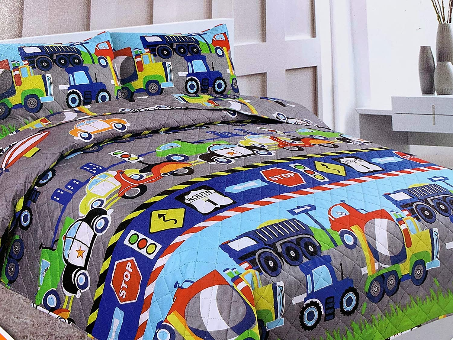 Sapphire Home 2 Piece Twin Size Kids Boys Teens Bedspread Coverlet Quilt Set with Sham, Cars Trucks Police Plane Print Blue Green Boys Kids Bedding Set, Twin Bedspread Cars