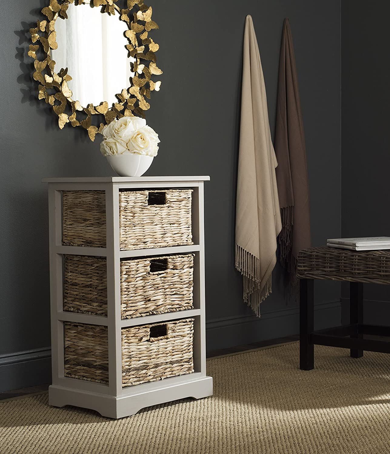 Safavieh American Homes Collection Halle Distressed Black 3 Wicker Basket Storage Side Table