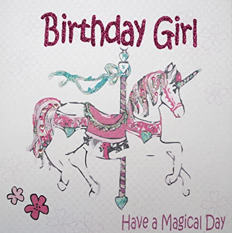 WHITE COTTON CARDS Magical Day Handmade Girls Birthday Card Pink Horse Amazoncouk Kitchen Home