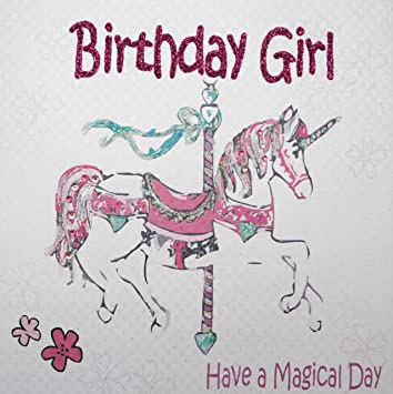 White cotton cards gl205 pink horse birthday girl have a magical white cotton cards gl205 pink horse birthday girl have a magical day handmade girls birthday bookmarktalkfo Images