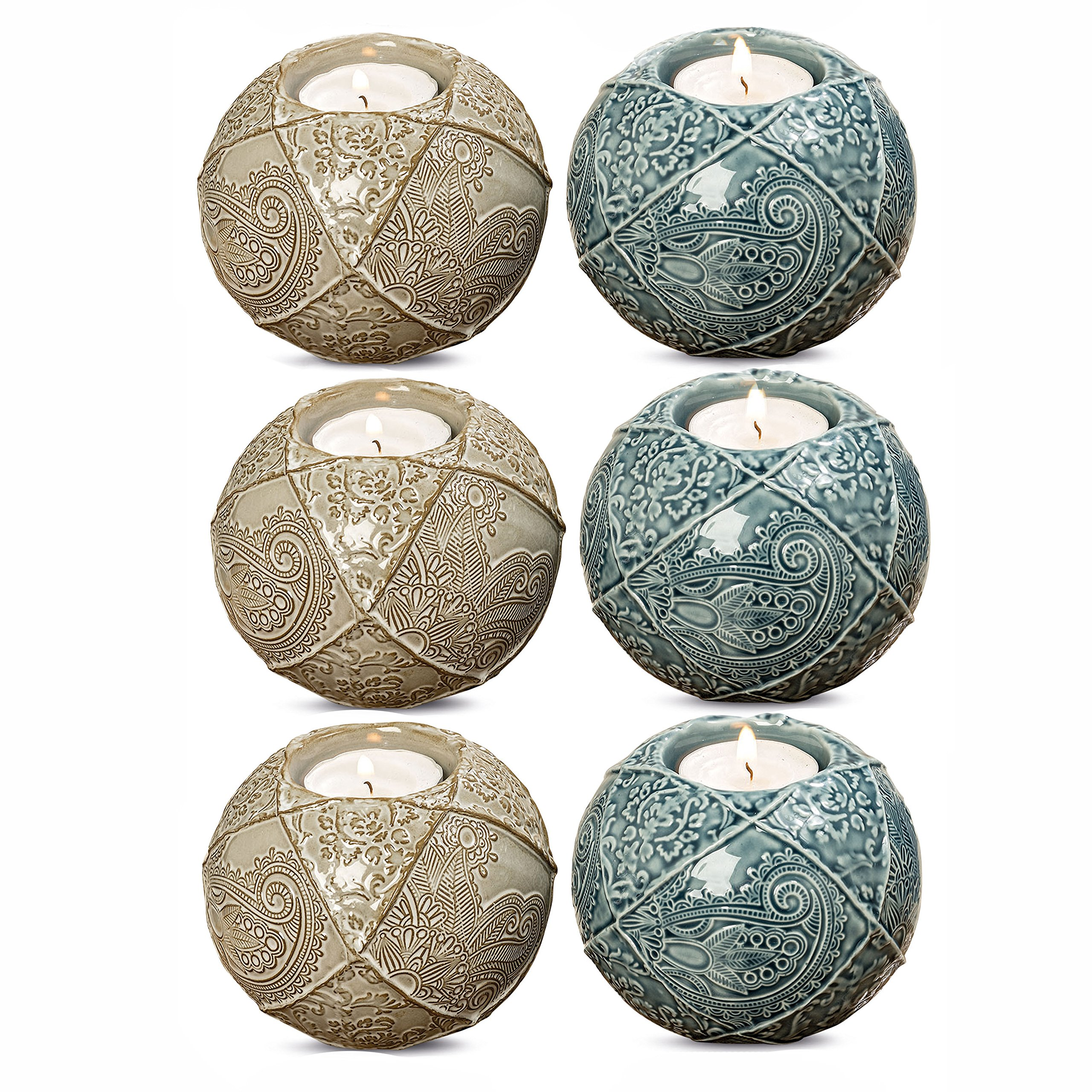 WHW Whole House Worlds Naturally Modern Paisley Tea Light Candle Holders Balls, Set of 6, Color Coordinated Teal and Tan, Porcelain, Intricate Incised Details, 4 Inches Diameter