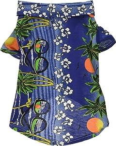 Tangpan Hawaiian Beach Coconut Tree Print Dog Shirt Summer Camp Shirt Clothes