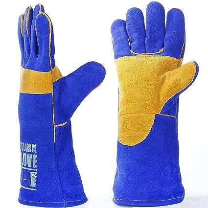 Guantes de soldadura de cuero por leaseek – resistente al calor y retardante de llama guantes
