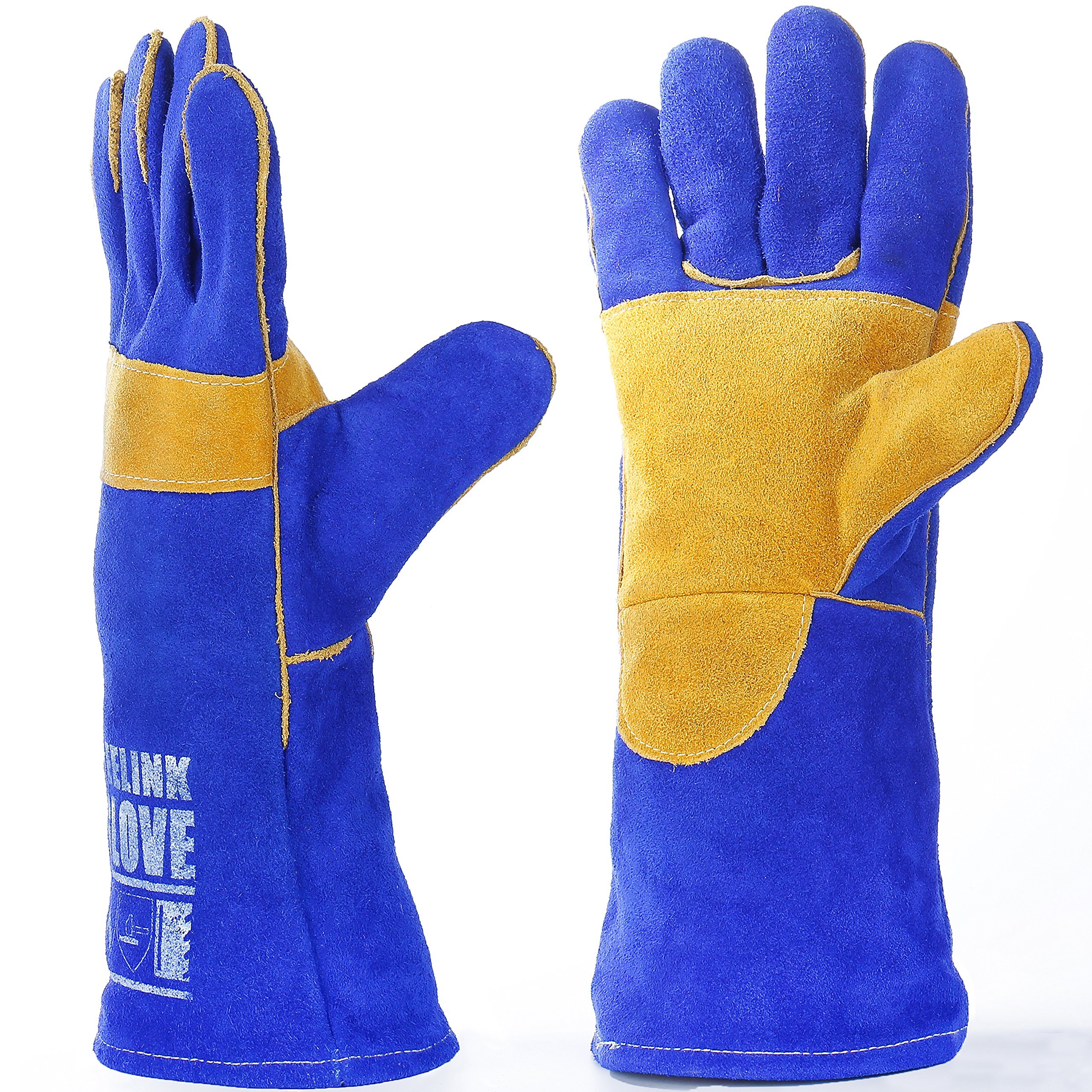 QeeLink Heat Resistant Welding Gloves - Reinforced Palm - Cotton Lined And Kevlar Stitching - Suitable For Fireplace Gloves, Camping Gloves, Gardening gloves, Work Gloves (16-inch)