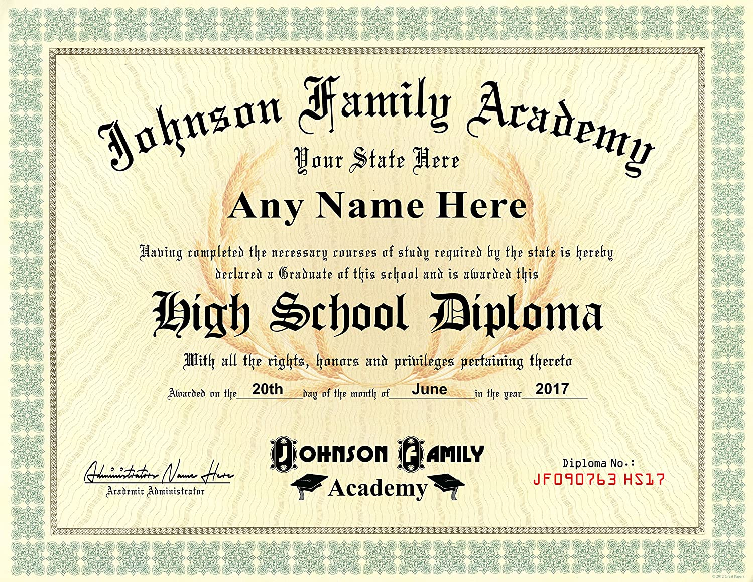 Home School Student High School Diploma Personalized With Your Info Premium Qaulity Comes With Certificate Folder