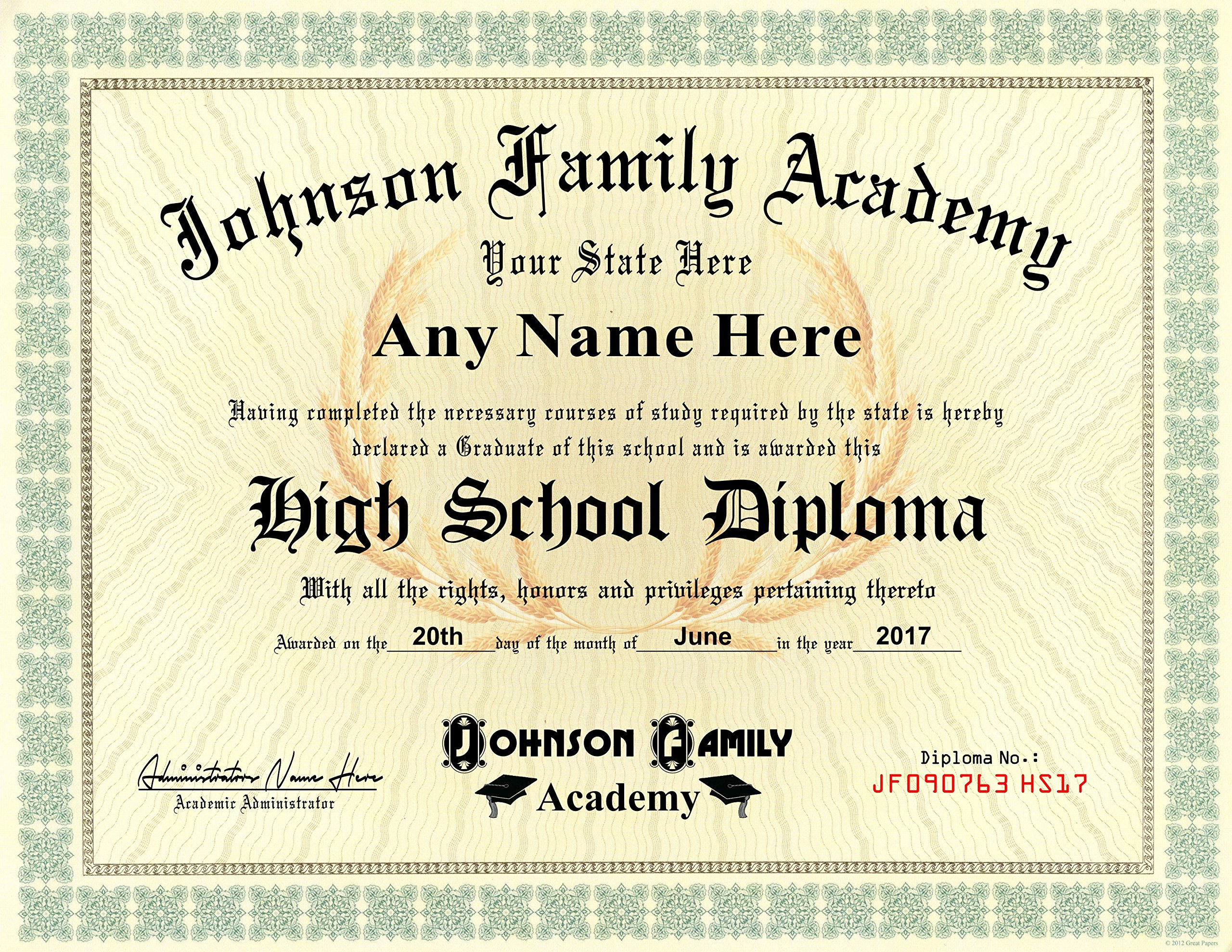 Home School Student High School Diploma - Personalized with Your Info - Premium Qaulity - Comes with Certificate Folder