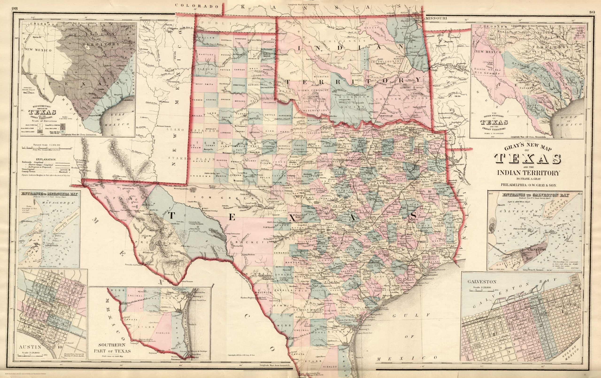 New Map Of Texas.1876 Texas County Map O W Gray Atlas Superb Print 16 Texas Map