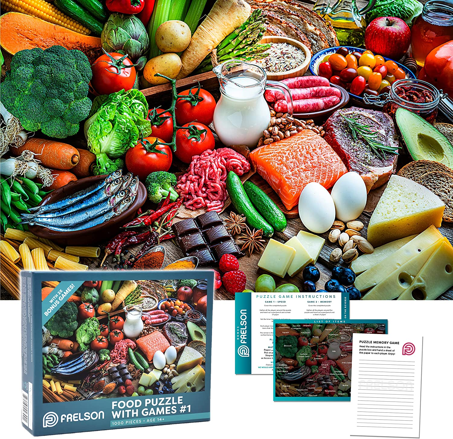1000 Piece Jigsaw Puzzles for Adults with 2X Bonus Games, Food Puzzle #1-1000 Piece Puzzles for Adults Includes Large Puzzle Poster, Puzzle Game Instructions and Notepad (27.5