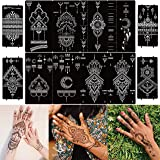 DIVAWOO 12 Sheet Henna Tattoo Stencils, Hand Temporary Tattoo Stickers, Indian Arabian Self Adhesive Tattoo Templates