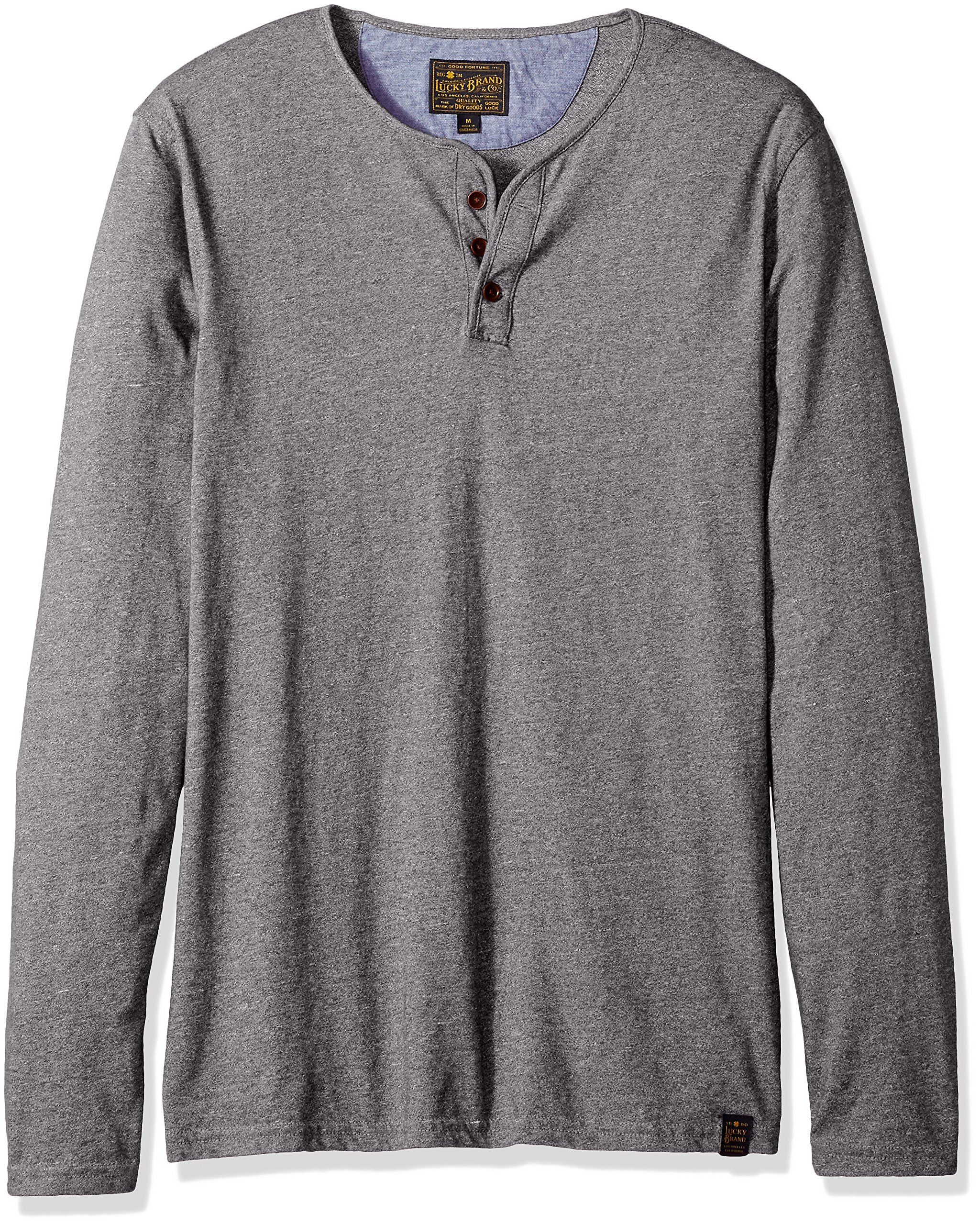 Lucky Brand Men's Long Sleeve Y Neck T-Shirt, Heather Grey, M