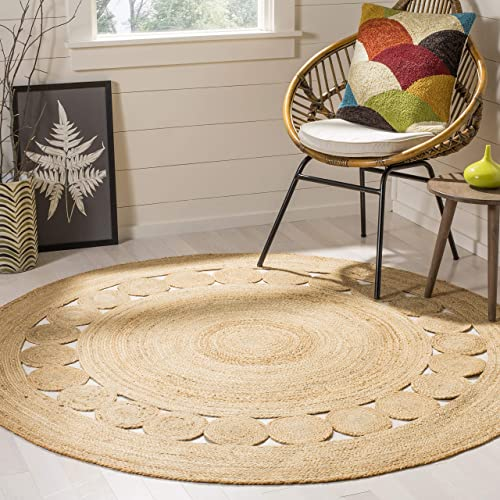 Safavieh NF364A-5R Fiber Collection Natural Jute Round Area Rug