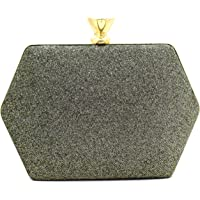 Tooba Handicraft Party Wear Bling Box Clutch Bag Purse For Bridal, Casual, Party, Wedding