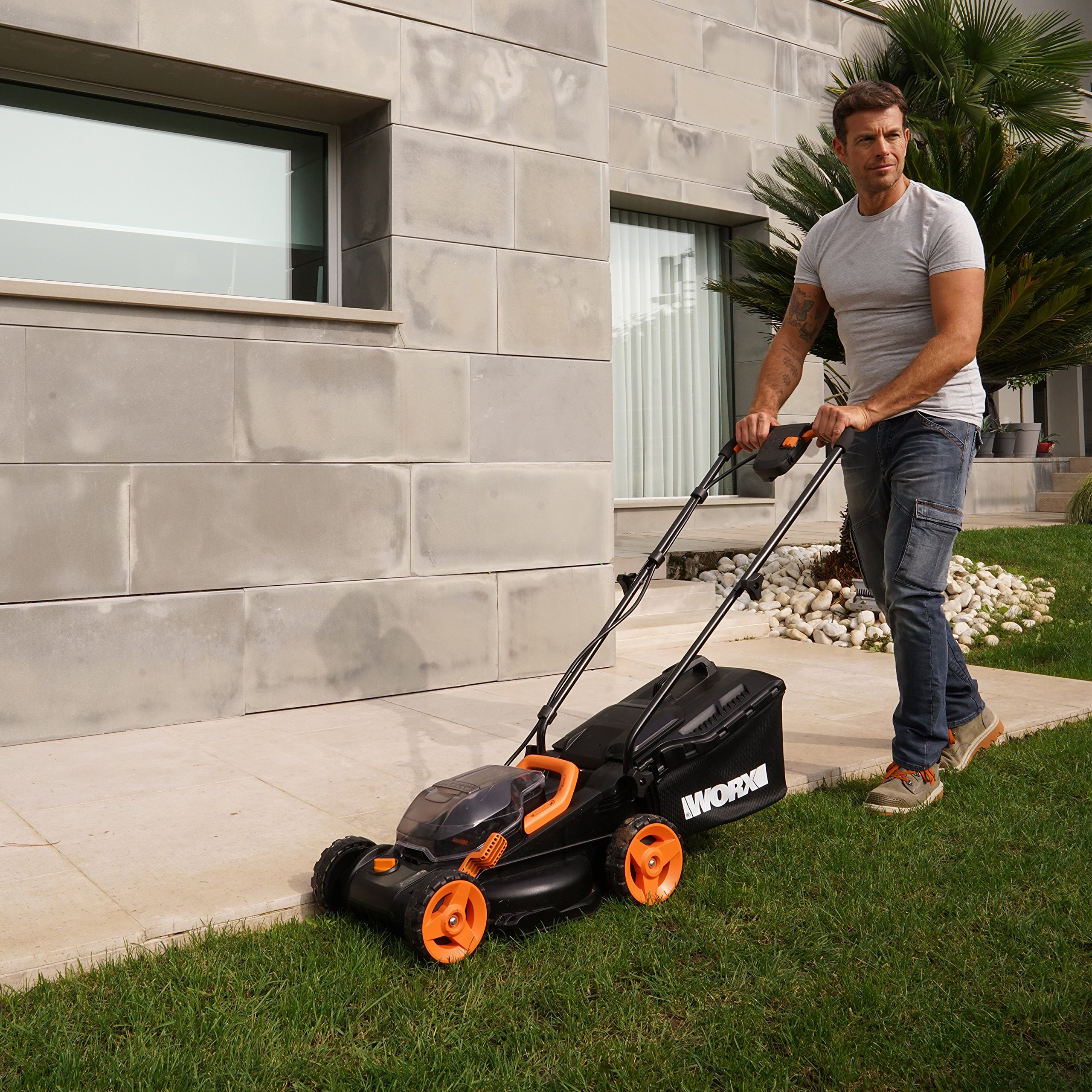 Worx WG779 2x20V (4.0AH) Cordless 14'' Lawn Mower with Mulching Capabilities and Intellicut, Dual Charger, 2 Batteries