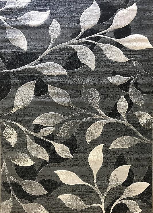 Lifestyle Modern Area Rug Gray Black Silver Grey Leaf Vine Design 667 8 Feet X 10 Feet