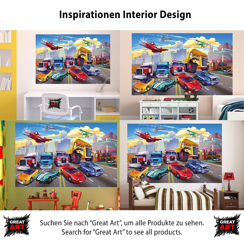 Foto mural para cuarto de niños Carreras de coches Mural Decoración Avión Cars Aventura Bomberos Coche deportivo Auto Convertible Cómic I foto-mural póster ...