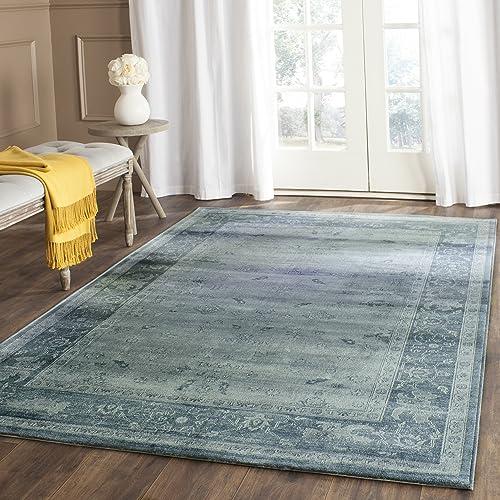 Safavieh Vintage Premium Collection VTG245B Transitional Oriental Light Blue and Dark Blue Distressed Silky Viscose Area Rug 9 x 12