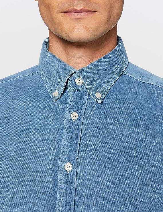Hackett London Indigo Baby Cord Camisa para Hombre