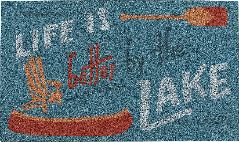 Now Designs Natural Fiber Printed Doormat, Lake Life - 18 x 30 in | Vinyl-Backed